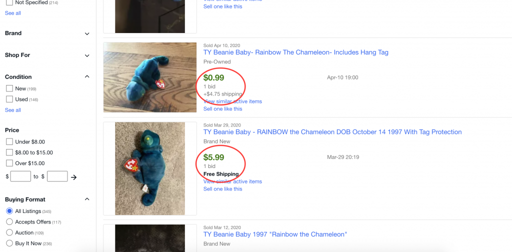 How much is Rainbow Beanie Baby worth?